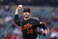 Baltimore Orioles starting pitcher Matt Harvey throws to first in a pickoff attempt during the fifth inning of a baseball game against the Detroit Tigers, Friday, July 30, 2021, in Detroit. (AP Photo/Carlos Osorio)