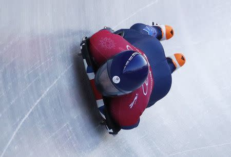 Skeleton – Pyeongchang 2018 Winter Olympics – Men's Training – Olympic Sliding Centre - Pyeongchang, South Korea – February 13, 2018 - Jerry Rice of Britain in action. REUTERS/Edgar Su
