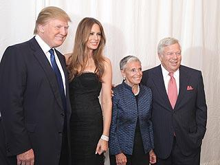 Myra Kraft, third from left, was lauded for her philanthropy. Here she poses with her husband, Robert, and Donald and Melania Trump in February at the 20th Anniversary Discovery Celebration benefiting Dana-Farber Cancer Institute and the Jimmy Fund in Palm Beach, Fla