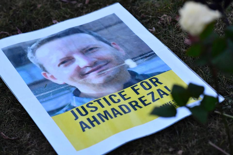 A photo taken on February 13, 2017 shows a flyer during a protest outside the Iranian embassy in Brussels for Ahmadreza Djalali, an Iranian academic detained in Tehran for nearly a year and reportedly sentenced to death for espionage. Djalali is an Iranian researcher working for the CRIMEDIM Disaster and Emergency Medicine program in which VUB (Vrije Universiteit Brussel) participates, he was arrested on April 25, 2016 when in the Iranian capital for a conference, according to Italian media. / AFP / Belga / DIRK WAEM / Belgium OUT        (Photo credit should read DIRK WAEM/AFP via Getty Images) (Photo: DIRK WAEM via Getty Images)