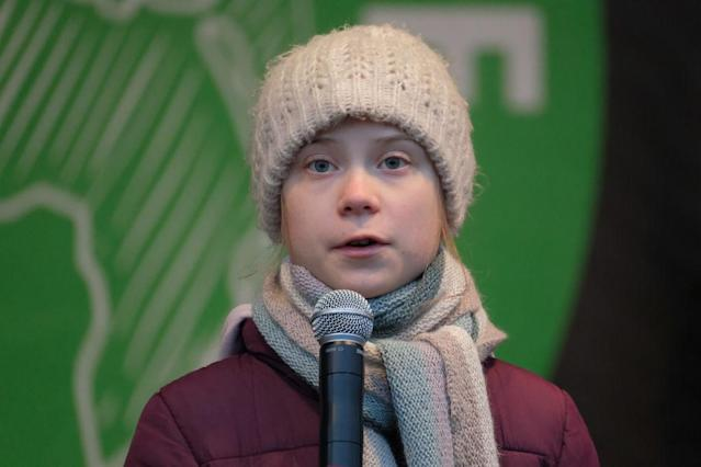 Environmental activist Greta Thunberg has inspired a new dating trend, pictured here at a climate change convention in Hamburg in February 2020. (Getty)