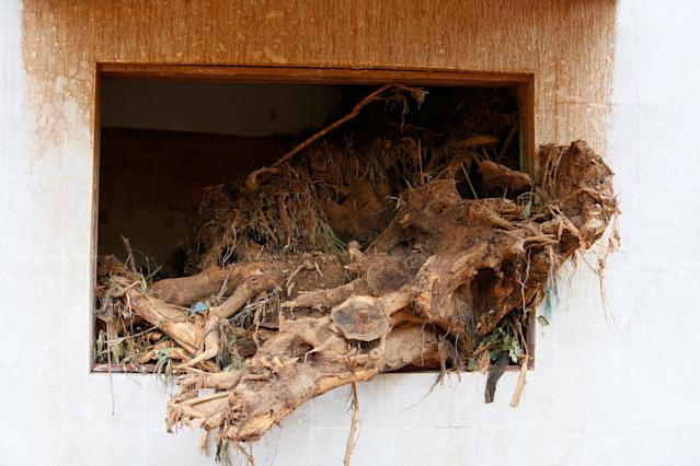 <p>A tree trunk is seen in the window of a house left along the valley after the flash flood at Pentagon, Regent town, Sierra Leone on Aug. 18, 2017. (Photo: Afolabi Sotunde/Reuters) </p>
