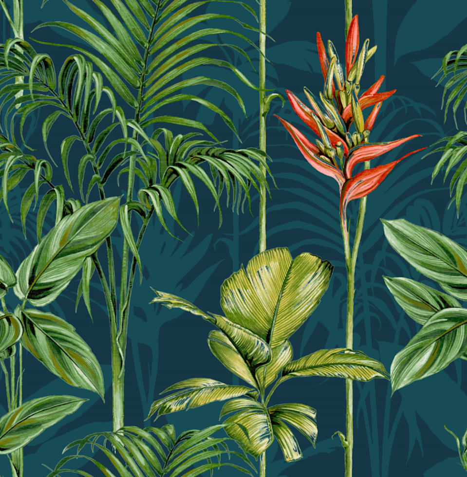 """<p>Striking and vibrant, from the colourful heliconia to the bold green leaves, <strong><a href=""""https://go.redirectingat.com?id=127X1599956&url=https%3A%2F%2Fwww.homebase.co.uk%2Fhouse-beautiful-paradise-tropics-teal-wallpaper%2F12945378.html&sref=https%3A%2F%2Fwww.housebeautiful.com%2Fuk%2Fhouse-beautiful-collections%2Fg36172810%2Fhomebase-wallpaper%2F"""" rel=""""nofollow noopener"""" target=""""_blank"""" data-ylk=""""slk:Paradise Tropics"""" class=""""link rapid-noclick-resp""""> Paradise Tropics</a></strong> will help you escape to a real-life paradise in the comfort of your own home.</p>"""