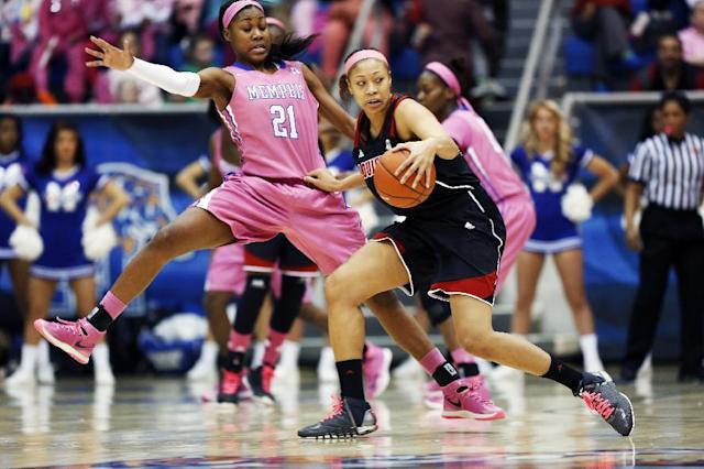 Memphis forward Asianna Fuqua-Bey (21) gets pushed by Louisville guard Antonita Slaughter in the first half of an NCAA college basketball game Sunday, Feb. 16, 2014, in Memphis, Tenn. (AP Photo/Yalonda M. James)