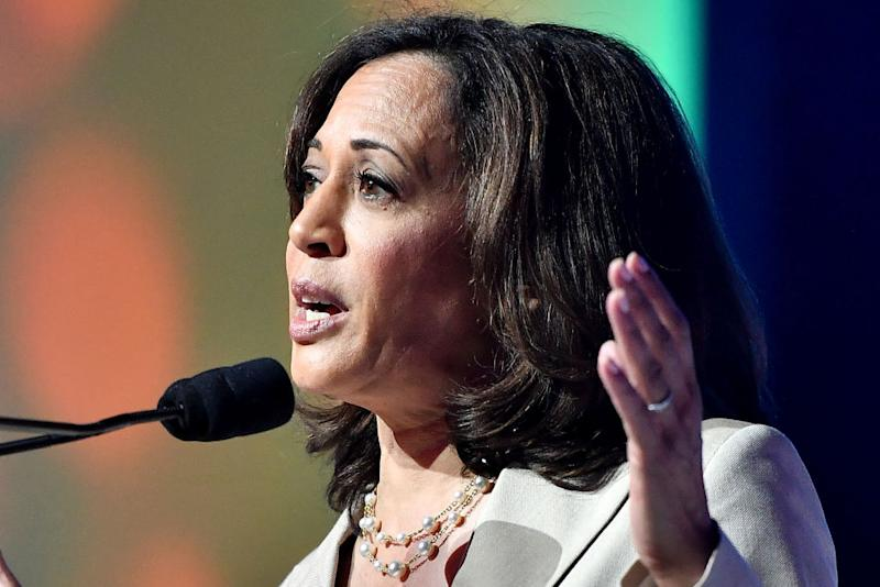 Kamala Harris speaks on stage at 2019 ESSENCE Festival Presented By Coca-Cola at Ernest N. Morial Convention Center on July 06, 2019 in New Orleans, Louisiana. | Paras Griffin—Getty Images for ESSENCE