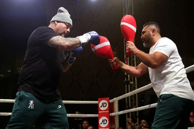 Andy Ruiz Jr donned a hat for his work-out (Nick Potts/PA).
