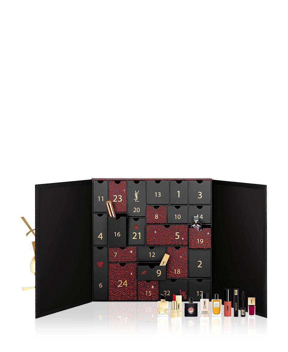 """<p><strong>Yves Saint Laurent</strong></p><p>bloomingdales.com</p><p><strong>$300.00</strong></p><p><a href=""""https://go.redirectingat.com?id=74968X1596630&url=https%3A%2F%2Fwww.bloomingdales.com%2Fshop%2Fproduct%2Fyves-saint-laurent-beauty-advent-calendar-400-value%3FID%3D3785491&sref=https%3A%2F%2Fwww.townandcountrymag.com%2Fstyle%2Fbeauty-products%2Fnews%2Fg2919%2Fbeauty-advent-calendars%2F"""" rel=""""nofollow noopener"""" target=""""_blank"""" data-ylk=""""slk:Shop Now"""" class=""""link rapid-noclick-resp"""">Shop Now</a></p><p><strong>Best For: </strong>Your sister who swears by Touché Éclat. </p><p><strong>What's Inside: </strong>$400 worth of YSL beauty favorites including perfumes, lipsticks, mascara, primer, serums, and more. </p>"""