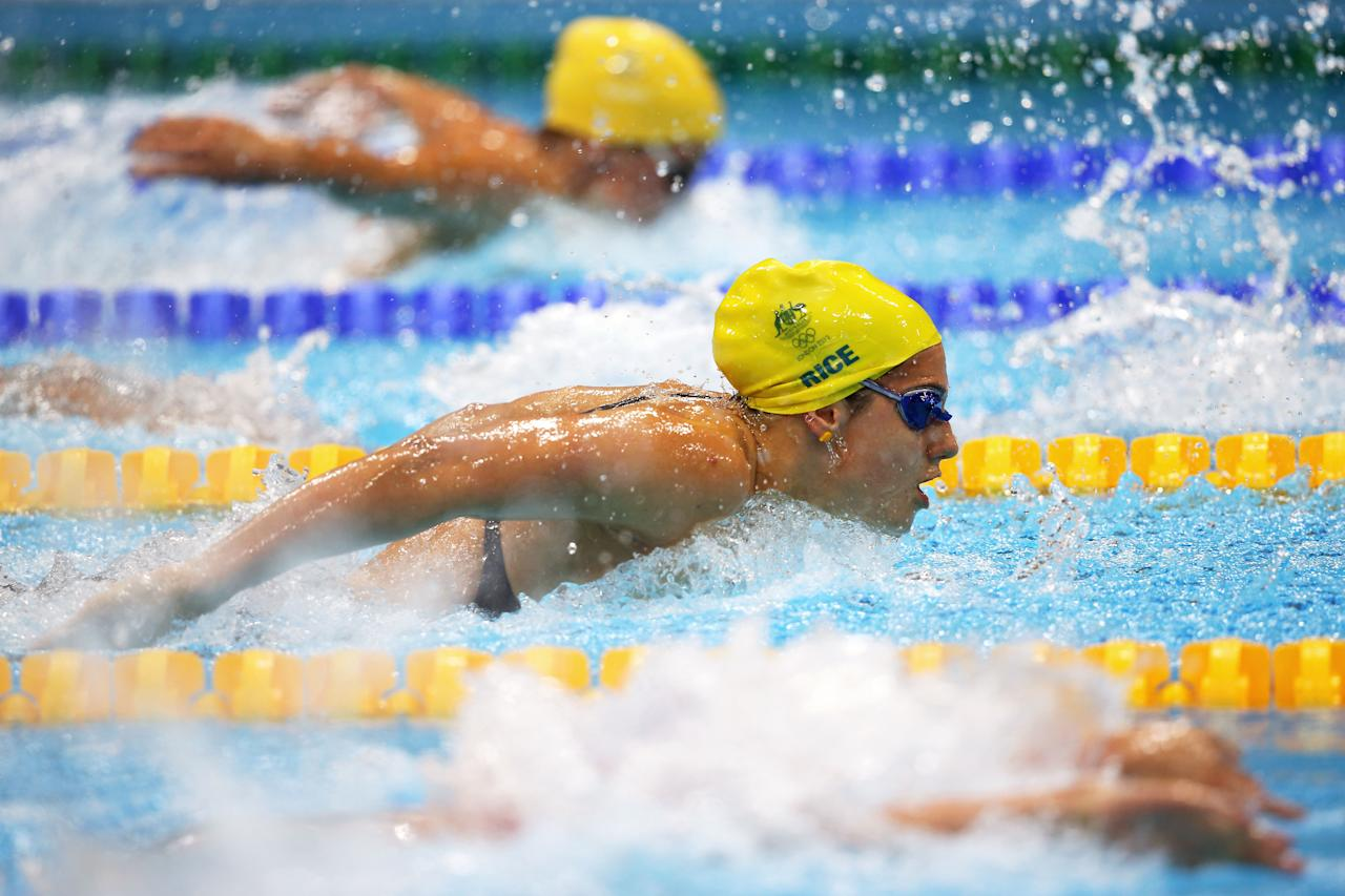LONDON, ENGLAND - JULY 28:  Stephanie Rice of Australia swims butterfly as she competes in heat four of the Women's 400m Individual Medley on Day One of the London 2012 Olympic Games at the Aquatics Centre on July 28, 2012 in London, England.  (Photo by Clive Rose/Getty Images)