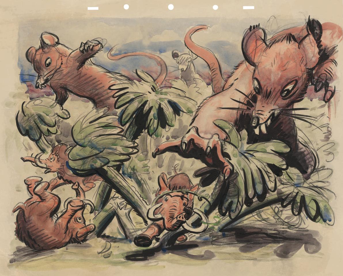 "<p>""…and when mice were gigantic. Since elephants never forget, now that the situation is reversed they remain terrified of mice to this day."" (Credit: James Bodrero/Disney/Chronicle Books) </p>"