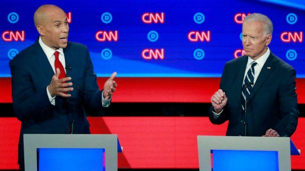 PHOTO: Sen. Cory Booker speaks as former Vice President Joe Biden gestures on the second night of the second 2020 Democratic presidential debate in Detroit, July 31, 2019. (Lucas Jackson/Reuters)