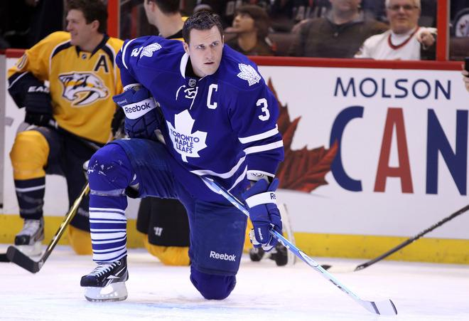 OTTAWA, ON - JANUARY 28:  Dion Phaneuf #3 of the Toronto Maple Leafs and team Chara kneels on the ice during the 2012 Molson Canadian NHL All-Star Skills Competition at Scotiabank Place on January 28, 2012 in Ottawa, Ontario, Canada.  (Photo by Christian Petersen/Getty Images)