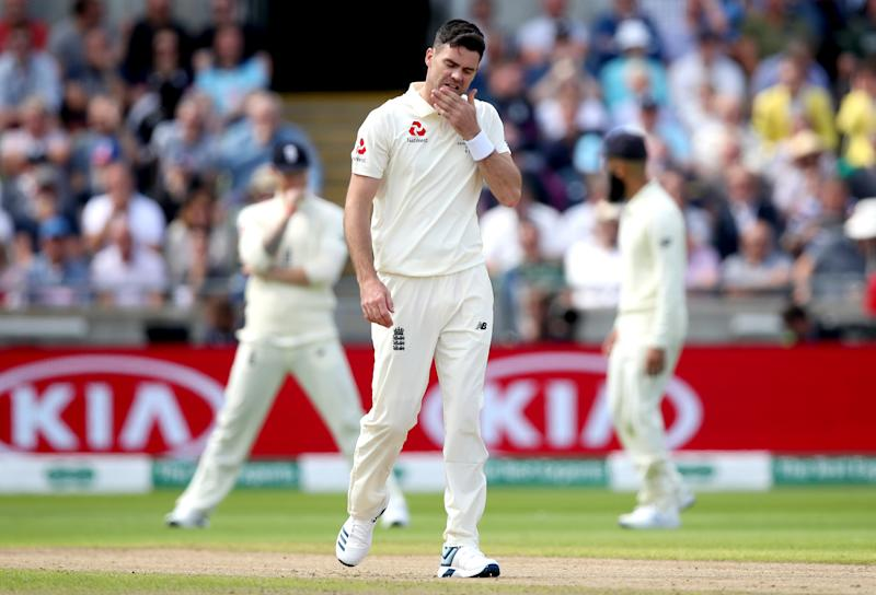 England's James Anderson during day one of the Ashes Test match at Edgbaston, Birmingham. (Photo by Nick Potts/PA Images via Getty Images)