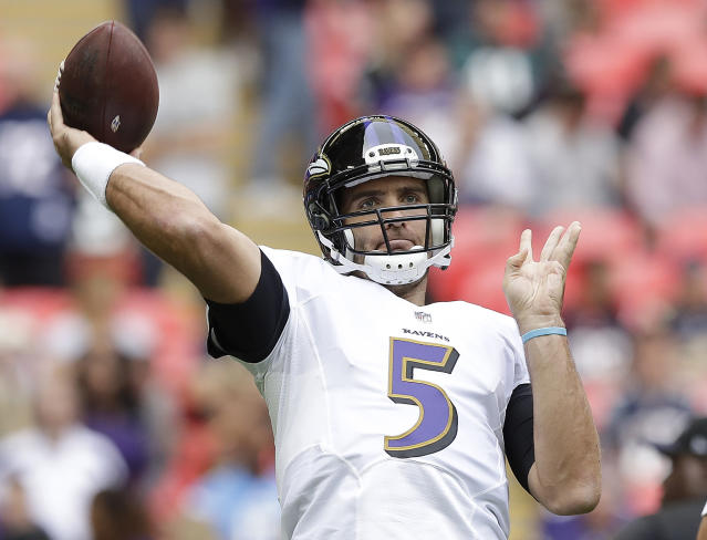 "Baltimore Ravens QB <a class=""link rapid-noclick-resp"" href=""/nfl/players/8795/"" data-ylk=""slk:Joe Flacco"">Joe Flacco</a> passes the ball before Sunday's game against the Jacksonville Jaguars at Wembley Stadium in London. (AP)"