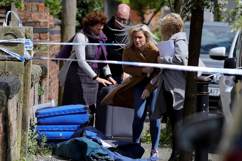 'Devastated': Mr Samwell's wife Jessica returned to their house the the scene of his death: Christopher Furlong/Getty Images