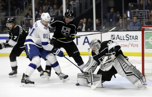 Los Angeles Kings goaltender Jonathan Quick (32) stops a shot from Tampa Bay Lightning's Erik Cernak (81) during the first period of an NHL hockey game Thursday, Jan. 3, 2019, in Los Angeles. (AP Photo/Marcio Jose Sanchez)