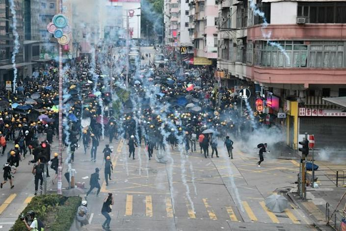 Officials said at least nine people sustained injuries in the Hong Kong protests, including one in serious condition (AFP Photo/Anthony WALLACE)