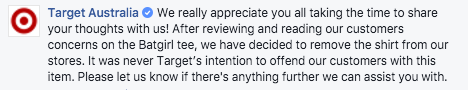The Target apology. Source: Facebook