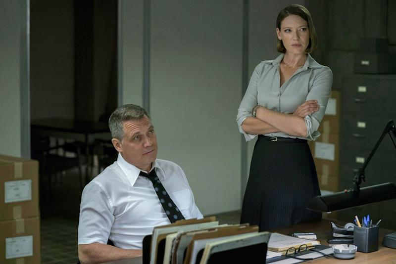 Holt McCallany as Bill Tench and Anna Torv as Dr. Wendy Carr in Mindhunter | Patrick Harbron/Netflix