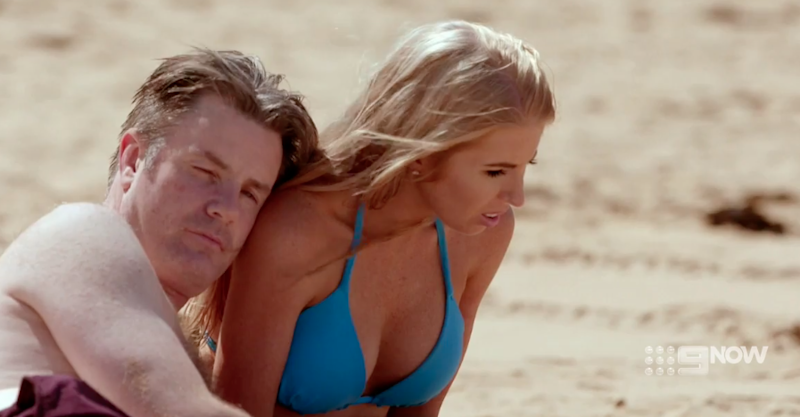 Earlier in the date Ashley seemed repulsed by Troy. Source: Nine