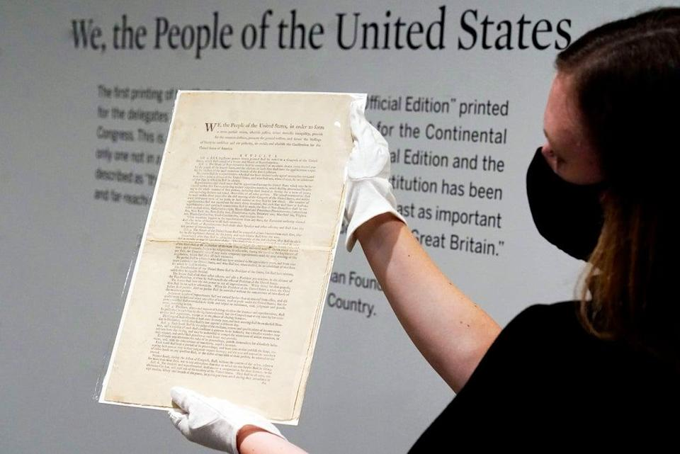 Auction US Constitution (Copyright 2021 The Associated Press. All rights reserved)