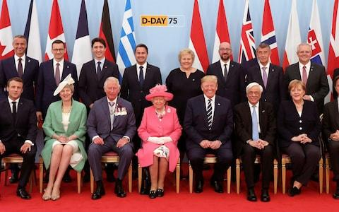 <span>The Queen is flanked by Prince Charles and world leaders</span> <span>Credit: Jack Hill </span>