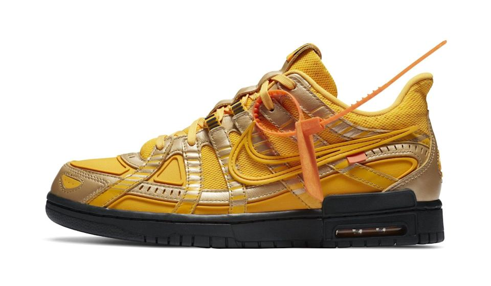 """The Off-White x Nike Rubber Dunk in """"University Gold."""" - Credit: Nike"""