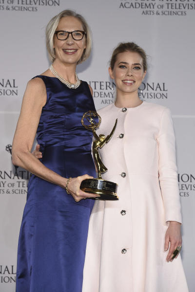 Maria Rorbye Ronn, left, winner of the Directorate Award, and presenter Birgitte Hjort Sorensen appear in the press room for the 44th International Emmy Awards at the New York Hilton on Monday, Nov. 21, 2016, in New York. (Photo by Charles Sykes/Invision/AP)
