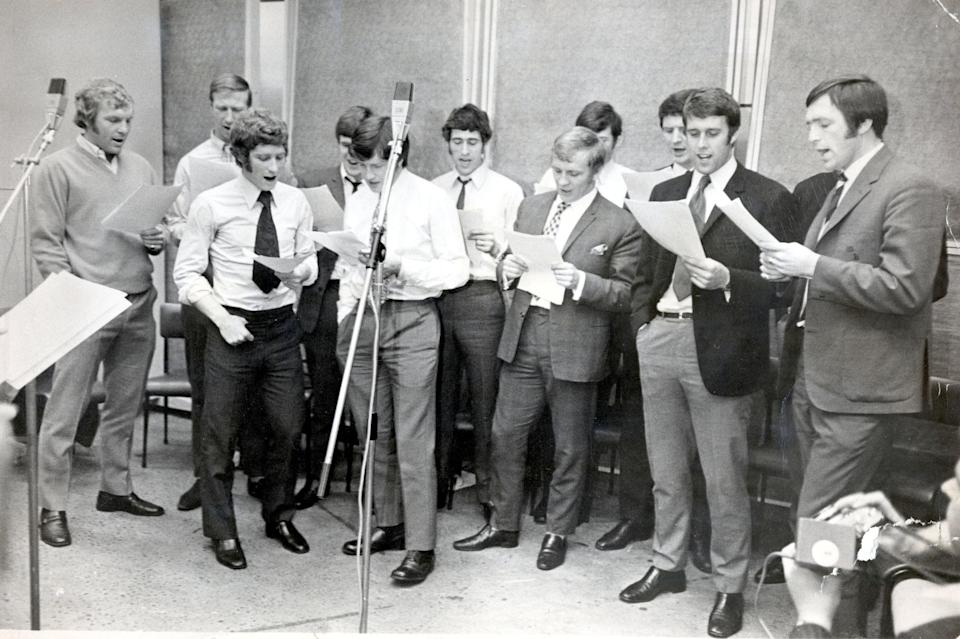 England's 1970 World Cup squad recording Back Home at a studio in London (Daily Mail)