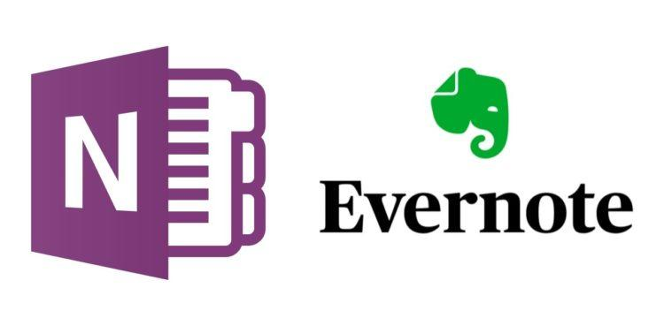 OneNote and EverNote logos