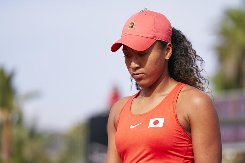 Naomi Osaka of Japan looks on during her match against Sara Sorribes of Spain during the 2020 Fed Cup Qualifier between Spain and Japan at Centro de Tenis La Manga Club on February 07, 2020 in Cartagena, Spain. (Photo by Quality Sport Images/Getty Images)