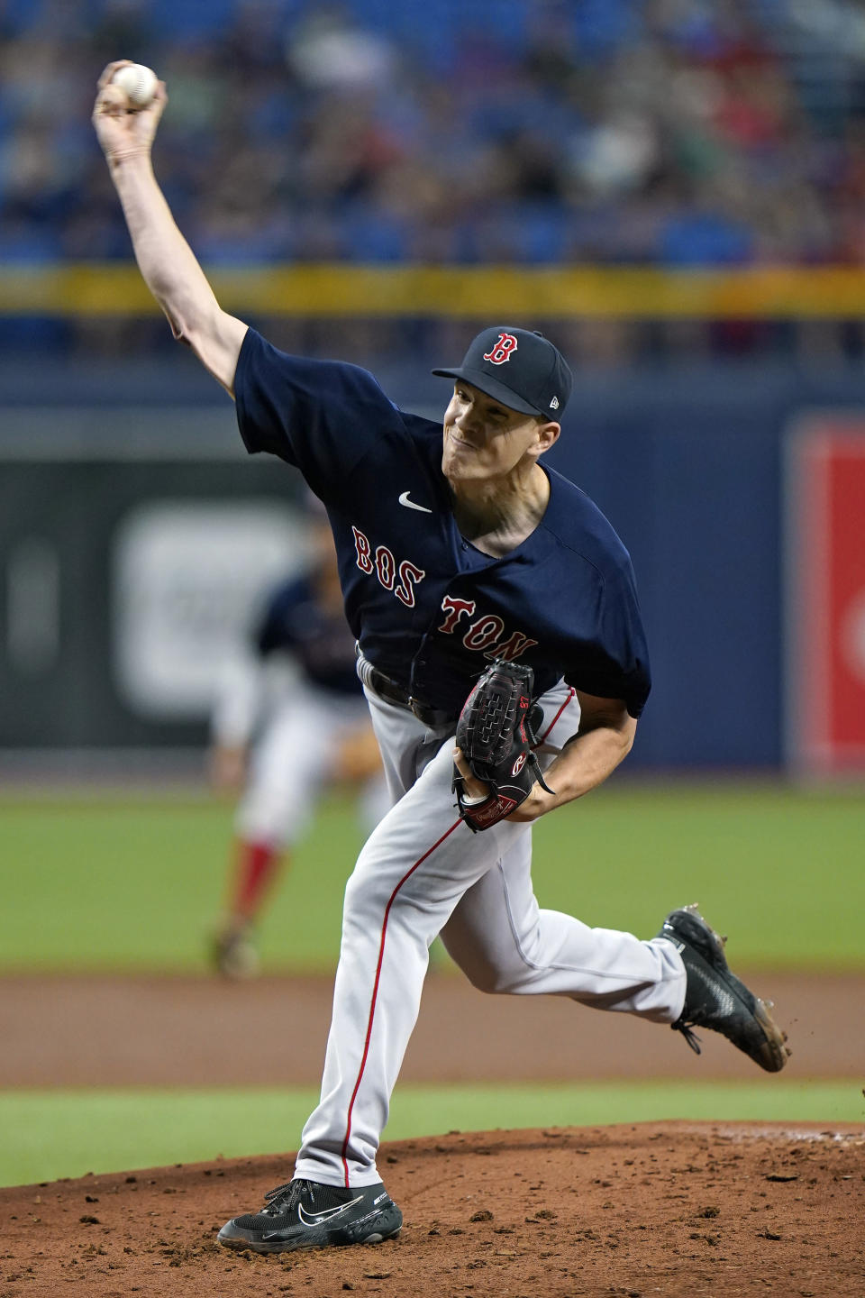 Boston Red Sox starting pitcher Nick Pivetta delivers to the Tampa Bay Rays during the first inning of a baseball game Thursday, June 24, 2021, in St. Petersburg, Fla. (AP Photo/Chris O'Meara)