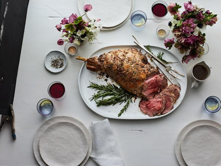 """A whole leg of lamb is a generous feast for a single household, but the good news is that the leftovers are excellent in sandwiches. <a href=""""https://www.epicurious.com/recipes/food/views/leg-of-lamb-with-garlic-and-rosemary-105020?mbid=synd_yahoo_rss"""" rel=""""nofollow noopener"""" target=""""_blank"""" data-ylk=""""slk:See recipe."""" class=""""link rapid-noclick-resp"""">See recipe.</a>"""