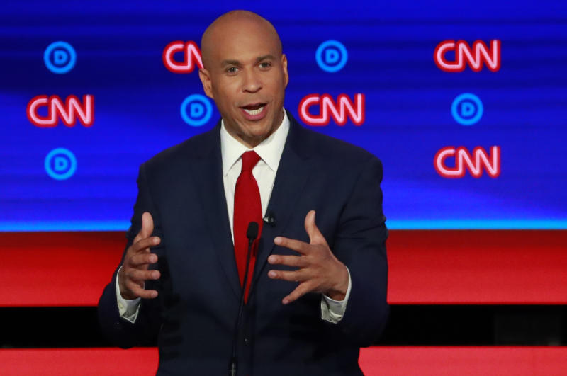 Sen. Cory Booker speaks at the Democratic U.S. presidential debate in Detroit, Mich. (Photo: Reuters/Lucas Jackson)