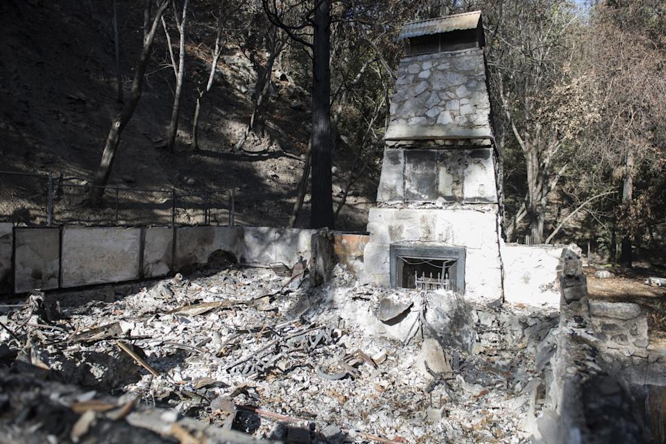 The remains of a historic cabin destroyed by the Bobcat fire.