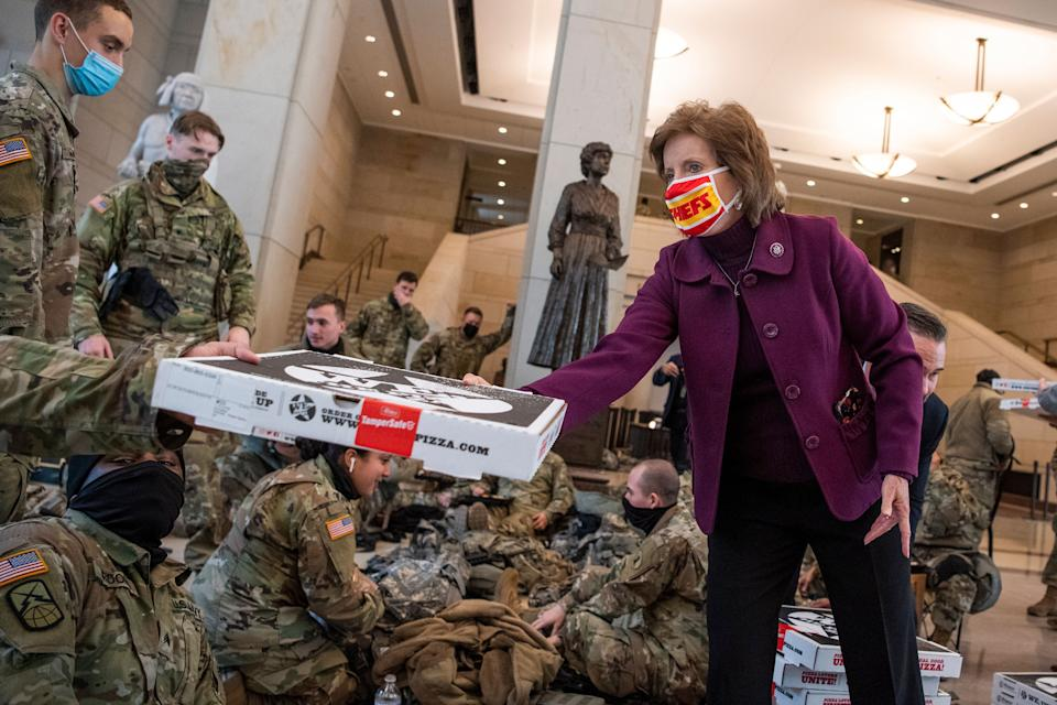 UNITED STATES - JANUARY 13: Rep. Vicky Hartzler, R-Mo., delivers pizza to members of the Delaware National Guard in the Capitol Visitor Center as the House debates of an article of impeachment against President Donald Trump on Wednesday, January 13, 2021. (Photo By Tom Williams/CQ-Roll Call, Inc via Getty Images) (Photo: Tom Williams via Getty Images)