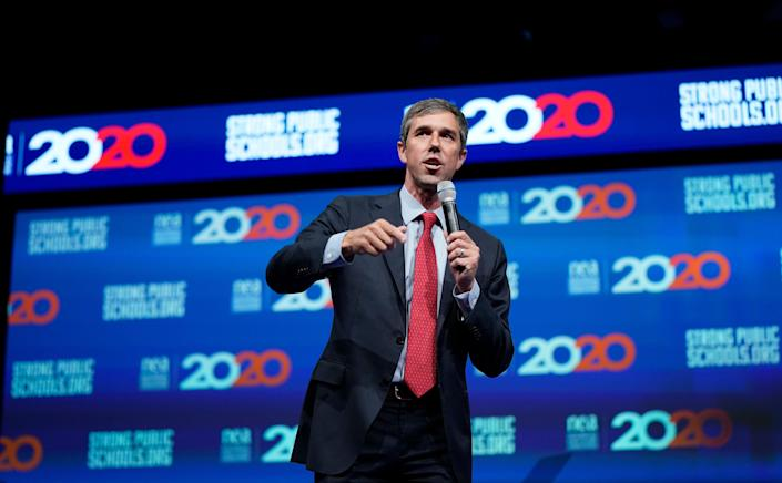Democratic presidential candidate and former Texas Congressman Beto O'Rourke speaks during the National Education Association Strong Public Schools Presidential Forum Friday, July 5, 2019, in Houston.