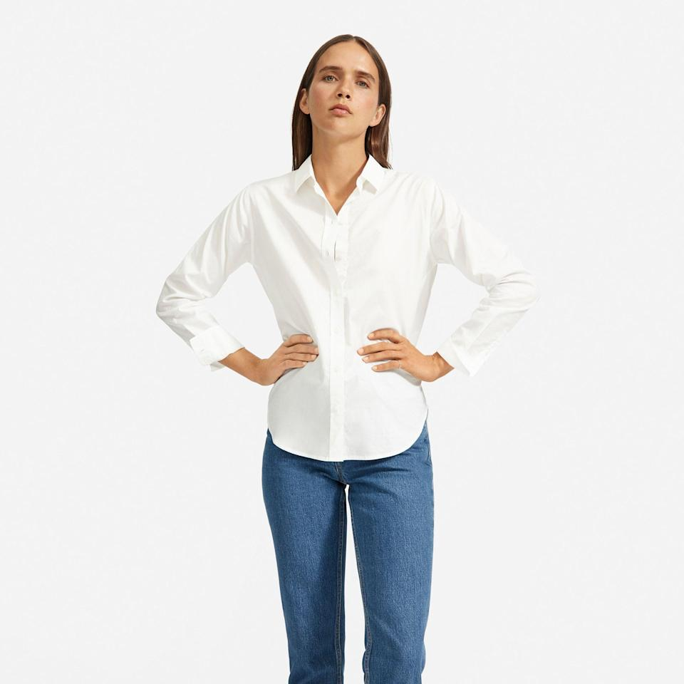 """<p><strong>everlane</strong></p><p>everlane.com</p><p><strong>$50.00</strong></p><p><a href=""""https://go.redirectingat.com?id=74968X1596630&url=https%3A%2F%2Fwww.everlane.com%2Fproducts%2Fwomens-silky-cttn-relaxed-shirt-offwhite&sref=https%3A%2F%2Fwww.townandcountrymag.com%2Fstyle%2Ffashion-trends%2Fhow-to%2Fg2860%2Fhalloween-couples-costume-ideas%2F"""" rel=""""nofollow noopener"""" target=""""_blank"""" data-ylk=""""slk:Shop Now"""" class=""""link rapid-noclick-resp"""">Shop Now</a></p><p>Just roll up the sleeves and tie the bottom into a front knot and you're good to go. </p>"""