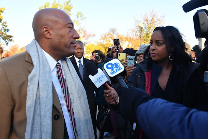 Natasha Alford (right) and TheGrio owner Byron Allen, in front of the Supreme Court in November 2019. (Photo: Getty Images for Entertainment S)