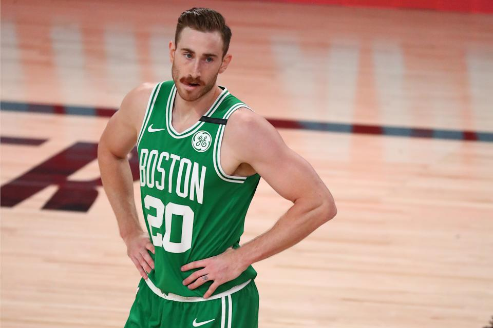 Gordon Hayward stands on the court during Game 3 of the Eastern Conference Finals.