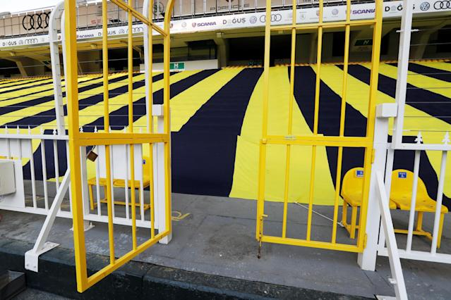 Soccer Football - Turkish Cup Semi Final Second Leg - Fenerbahce v Besiktas - Sukru Saracoglu Stadium, Istanbul, Turkey - May 3, 2018 General view of a gate inside the stadium before the scheduled kick off REUTERS/Murad Sezer