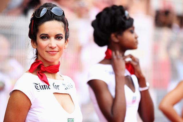 MONTE CARLO, MONACO - MAY 27: Grid girls line up for the drivers parade before the start of the Monaco Formula One Grand Prix at the Circuit de Monaco on May 27, 2012 in Monte Carlo, Monaco. (Photo by Mark Thompson/Getty Images)