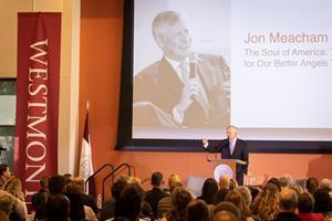 "Jon Meacham, seen here at Westmont in 2019, will speak about ""Building a Republic that Stands the Test of Time."""