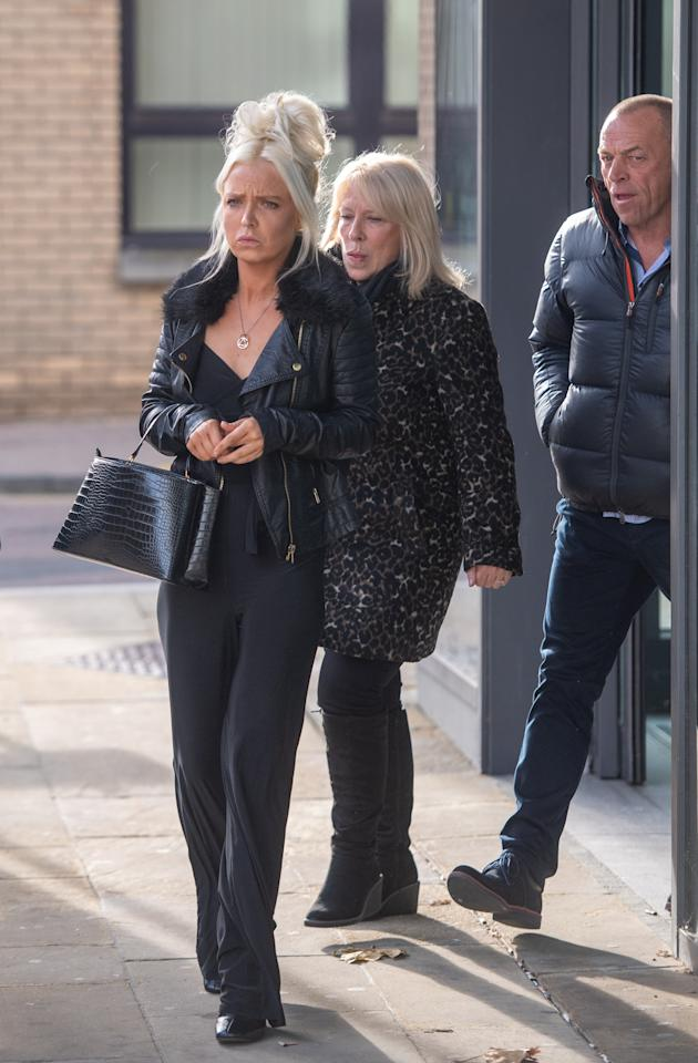 Chloe Haines leaves Chelmsford Magistrates� Court, Chelmsford, Essex, where she is charged with assault and with recklessly or negligently acting in a manner likely to endanger an aircraft or persons inside, after she allegedly became disruptive on a Jet2 flight to Turkey which was escorted back to Stansted Airport by two RAF Typhoon jets on June 22 2019. PA Photo. Picture date: Wednesday November 20, 2019. Photo credit should read: Joe Giddens/PA Wire