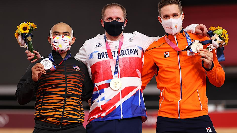 Mohd Azizulhasni Awang, Jason Kenny and Harrie Lavreysen, pictured here after the kierin final at the Olympics.