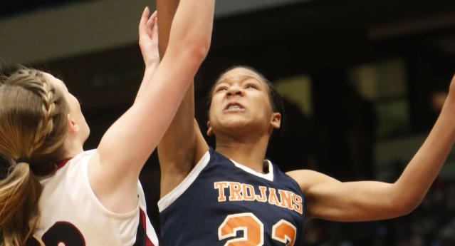 Maori Davenport, right, had been ruled ineligible by the Alabama High School Athletic Association. (AP)