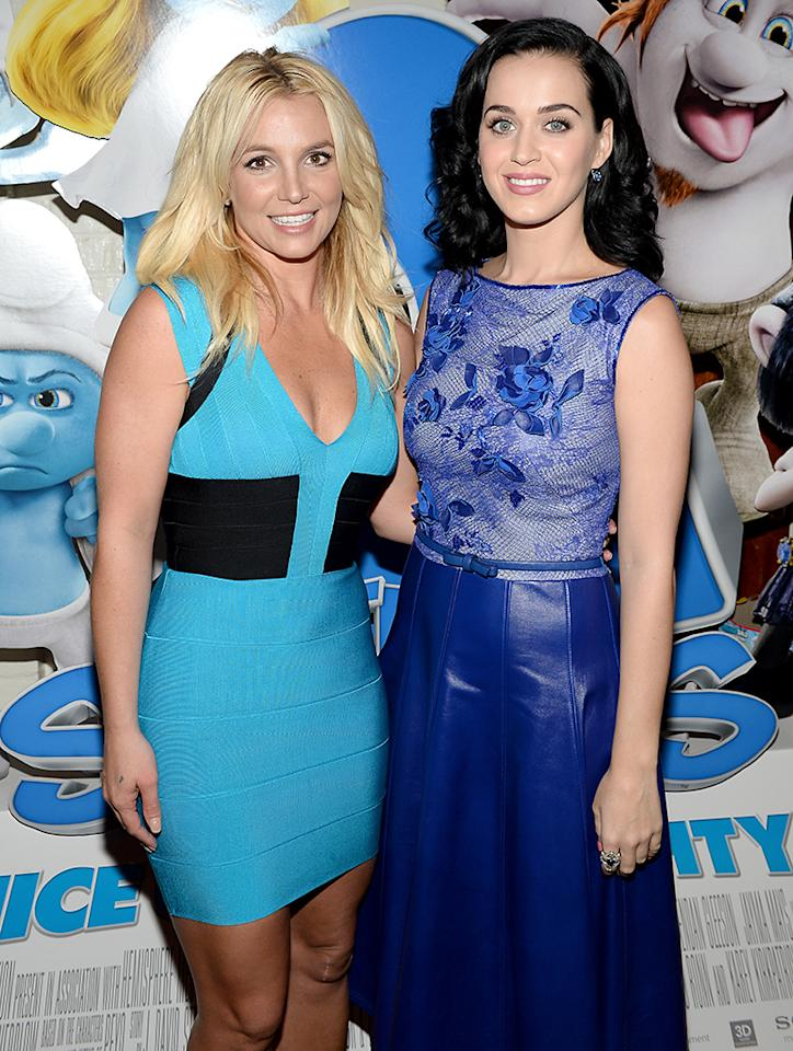 """WESTWOOD, CA - JULY 28:  Singers Britney Spears (L) and Katy Perry attend the Los Angeles premiere of """"The Smurfs 2"""" at Regency Village Theatre on July 28, 2013 in Westwood, California.  (Photo by Michael Buckner/Getty Images for SONY)"""