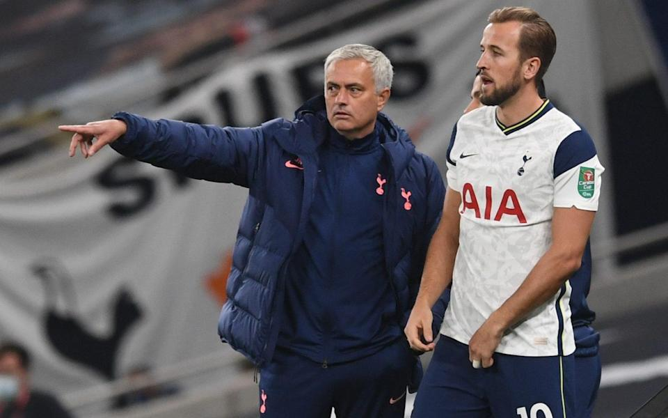 Tottenham Hotspur manager Jose Mourinho with Harry Kane - REUTERS