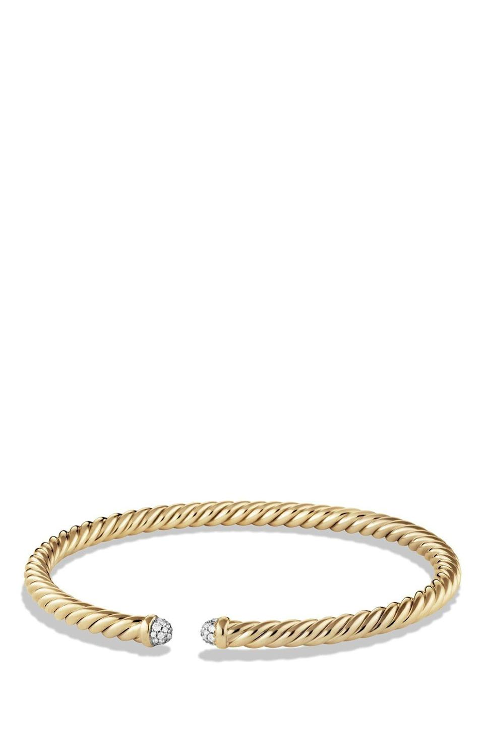 """<p><strong>DAVID YURMAN</strong></p><p>nordstrom.com</p><p><strong>$2500.00</strong></p><p><a href=""""https://go.redirectingat.com?id=74968X1596630&url=https%3A%2F%2Fshop.nordstrom.com%2Fs%2Fdavid-yurman-cable-spira-bracelet-in-18k-gold-4mm%2F3825135&sref=https%3A%2F%2Fwww.townandcountrymag.com%2Fstyle%2Fjewelry-and-watches%2Fg34741522%2Fbest-jewelry-gift-ideas%2F"""" rel=""""nofollow noopener"""" target=""""_blank"""" data-ylk=""""slk:Shop Now"""" class=""""link rapid-noclick-resp"""">Shop Now</a></p><p>The cable bracelet was one of David Yurman's first designs, and it continues to be a hit today. The diamond caps add a touch of sparkle to the utilitarian piece.</p>"""