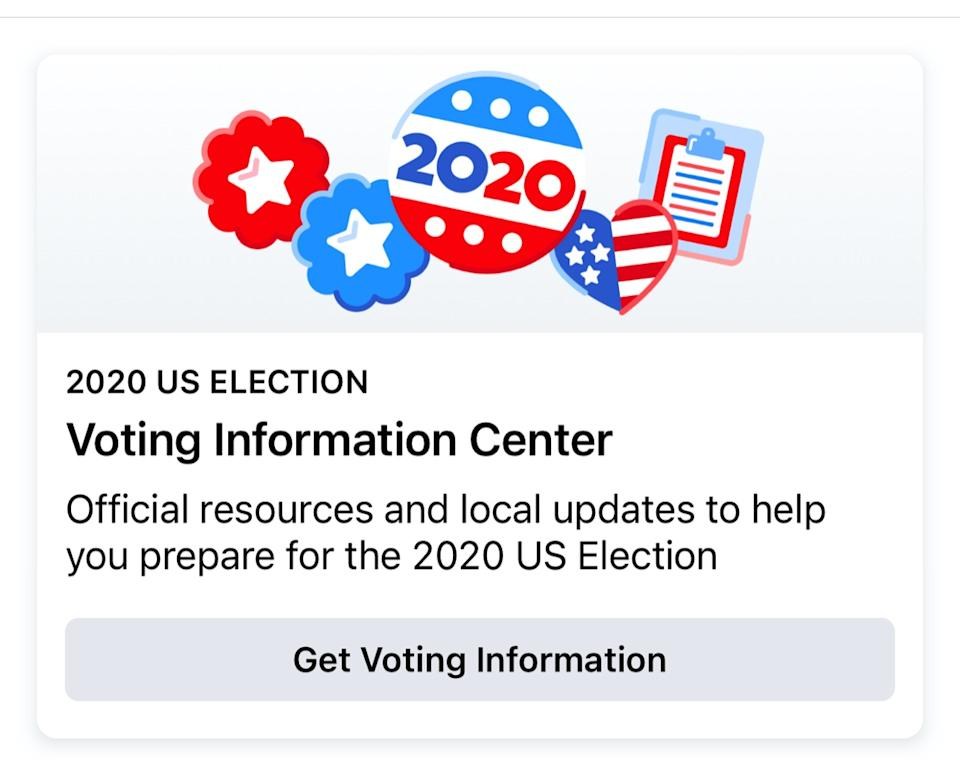 voting information center page on Facebook