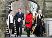 <p>Prince William and Kate Middleton with Sir Menzies Campbell (right), visited St Andrews University ahead of their royal wedding in 2011. They will return there, 10 years and three children later, in May.</p>